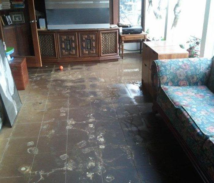 Flood Damage Inside Home Before